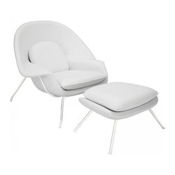 Modway Imports - Modway EEI-239-WHI W Leather Lounge Chair In White - Modway EEI-239-WHI W Leather Lounge Chair In White