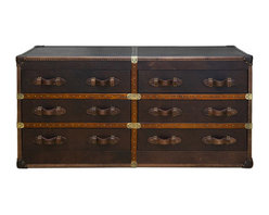 Curations Limited - Six Drawer Vintage Leather Trunk -