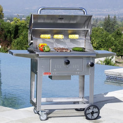 Bull Outdoor Products - Bull Bison Charcoal Grill with Cart Multicolor - BUL171 - Shop for Grills from Hayneedle.com! Charcoal grillers you know what you need. That special flavor requires special attention and special equipment like the Bull Bison Charcoal Grill with Cart. This stainless steel charcoal grill features air flow controls and charcoal management that allows you to cook at the perfect temperature for any food any time. It sits in a custom-built stainless steel cart with large wheels and locking casters ready to take your grilling game anywhere. Read on for a complete list of features on Bull's hottest charcoal grill. Key features of the Bull Bison Charcoal Grill with Cart: 18-gauge 304 stainless steel construction - grill and cart Fully-adjustable charcoal holding bins with access drawer Manual charcoal elevation adjustment with knob - control your heat! Stainless steel grates on grill surface and warming rack Multiple air flow controls for quick effective adjustments Single-piece dual-lined stainless steel hood retains heat effectively Cart with large rolling wheels and locking casters included 2 large side tables for prep work and accessories Complete dimensions: 53L x 22.5D x 46.125H inches About Bull Outdoor ProductsBull Outdoor Products will change the way you barbecue. The award-winning grills and grill accessories are designed engineered and master-crafted with the finest materials available. All Bull Stainless Steel products are approved by the National Sanitation Foundation which allows residential customers to cook on commercial-quality grills. Bull Outdoor Products Inc. pioneered the concept of outdoor barbecue islands recognizing the need for backyard barbecue enthusiasts to bring their grilling talents to match those of professional chefs.