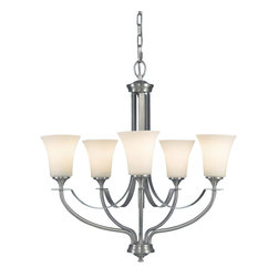 """Murray Feiss - Murray Feiss F2252/5BS Chandelier - Brushed Steel - Opal Etched Glass Shade. Number of Bulbs: 5. Bulb Base: Medium (E26). Bulb Type: Incandescent. Bulb Included: No. Watts Per Bulb: 100. Wattage: 500. Voltage: 120. Height: 25.5"""". Diameter: 25.5"""". Canopy Diameter: 5.5"""". Backplate Diameter: 5.5"""". Chain Length: 72"""". Wire Length: 96"""". Energy Star: No. UL Listed: Yes. UL Rating: Dry Location."""