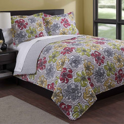 None - Floral Fantasy 3-piece Quilt Set - The super soft,luxurious quilt mini set is the perfect choice to dress your bed. Made of 100-percent polyester,this set features a floral pattern in a green,grey and red finish. Machine washable for easy care and repeated use.