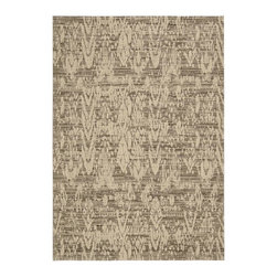 """Nourison - Nepal Transitional Mocha Distressed Ikat 3'6"""" x 5'6"""" Nourison Rug by RugLots - Experience the texture of a traditional Nepalese rug with this exciting collection of unique area rugs. It features captivating designs in exotic hues, hand-carved for additional dimension. Add comfort, as well as a beautiful and elegant design element, to any setting. Nepal is sure to impress everyone."""