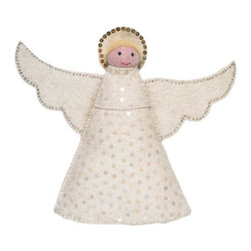 Arcadia Home - Angel Christmas Tree Topper - Sit this lovely angel on top of your tree. Hand felted and hand appliqued angel tree topper made of 100% sustainable wool felt.