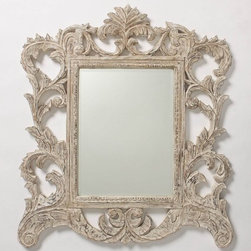 Vine Gardener Mirror - Ornate and elegant, this mirror harkens back to old European royalty. The tendrils on the white wood are so beautifully created. This piece would look fantastic over a fireplace.