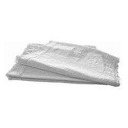 "White Linen Runner 42"" - Simple white vintage linen table runner with interior hemstitch border and thin crochet trim."