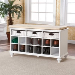 Southern Enterprises Chelmsford Entryway Bench - White - Kicking your shoes into the corner is kid stuff. Keep your entryway organized with the beautifully crafted Southern Enterprises Chelmsford Entryway Bench – White. This charming 12 shoe storage unit not only features enough shelves to accommodate 6-12 pairs of shoes, but it comes with three rattan pull-out drawers for gloves, scarves, and other linens, and a padded top making it a luxurious bench. It's the perfect place to keep your kicks and your mitts and take a seat while you change in or out of them! This hardwood and MDF bench comes in an all-white finish with a cream seat cover. Some assembly is required.About SEI (Southern Enterprises, Inc.)This item is manufactured by Southern Enterprises or SEI. Southern Enterprises is a wholesale furniture accessory import company based in Dallas, Texas. Founded in 1976, SEI offers innovative designs, exceptional customer service, and fast shipping from its main Dallas location. It provides quality products ranging from dinettes to home office and more. SEI is constantly evolving processes to ensure that you receive top-quality furniture with easy-to-follow instruction sheets. SEI stands behind its products and service with utmost confidence.