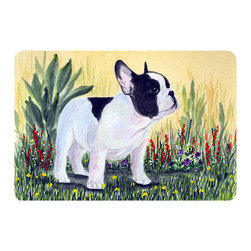 Caroline's Treasures - French Bulldog Kitchen or Bath Mat 20 x 30 - Kitchen or Bath Comfort Floor Mat This mat is 20 inch by 30 inch. Comfort Mat / Carpet / Rug that is Made and Printed in the USA. A foam cushion is attached to the bottom of the mat for comfort when standing. The mat has been permanently dyed for moderate traffic. Durable and fade resistant. The back of the mat is rubber backed to keep the mat from slipping on a smooth floor. Use pressure and water from garden hose or power washer to clean the mat. Vacuuming only with the hard wood floor setting, as to not pull up the knap of the felt. Avoid soap or cleaner that produces suds when cleaning. It will be difficult to get the suds out of the mat.