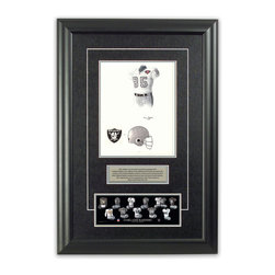 """Heritage Sports Art - Original art of the NFL 1994 Oakland Raiders uniform - This beautifully framed piece features an original piece of watercolor artwork glass-framed in an attractive two inch wide black resin frame with a double mat. The outer dimensions of the framed piece are approximately 17"""" wide x 24.5"""" high, although the exact size will vary according to the size of the original piece of art. At the core of the framed piece is the actual piece of original artwork as painted by the artist on textured 100% rag, water-marked watercolor paper. In many cases the original artwork has handwritten notes in pencil from the artist. Simply put, this is beautiful, one-of-a-kind artwork. The outer mat is a rich textured black acid-free mat with a decorative inset white v-groove, while the inner mat is a complimentary colored acid-free mat reflecting one of the team's primary colors. The image of this framed piece shows the mat color that we use (Silver). Beneath the artwork is a silver plate with black text describing the original artwork. The text for this piece will read: This original, one-of-a-kind watercolor painting of the 1994 Oakland Raiders uniform is the original artwork that was used in the creation of this Oakland Raiders uniform evolution print and tens of thousands of other Oakland Raiders products that have been sold across North America. This original piece of art was painted by artist Tino Paolini for Maple Leaf Productions Ltd. Beneath the silver plate is a 3"""" x 9"""" reproduction of a well known, best-selling print that celebrates the history of the team. The print beautifully illustrates the chronological evolution of the team's uniform and shows you how the original art was used in the creation of this print. If you look closely, you will see that the print features the actual artwork being offered for sale. The piece is framed with an extremely high quality framing glass. We have used this glass style for many years with excellent results. We package """