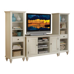 Home Styles - Home Styles Bermuda 3 Piece Entertainment Center - Home Styles - Entertainment Centers - 554334 - Inspired by the fusion of British traditional and coastal design elements the Bermuda Collection highlights Poplar solids and engineered wood in a refreshing multi-step textured brushed White finish.  Further inspiration can be found in the shutter doors and turned feet.  Ample component storage is provided in the Bermuda Entertainment Credenza's center compartment with two adjustable shelves as well as in the two storage cabinets each with two adjustable shelves.  Additional storage/display space can be found in the Bermuda Pier Cabinet's three adjustable shelves and storage drawer.  Effectively hidden cable access points allow for neat wire management.  Three piece set includes the entertainment credenza and two pier cabinets.