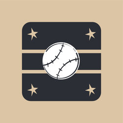 Homeworks Etc - Homeworks Etc White Baseball Tan Star Black Canvas Wall Art - Home run!  Enjoy this fun canvas wall art depicting a  baseball against a black background accented with tan stripes and stars.  Makes a great baby shower or birthday gift! It's lightweight design is easy to hang.  Finished tan edge with no framing required.  Canvas stretched over a wooden frame.  Measures 10 x 10 x 1.5-inches.  Perfect for use in  a children's bedroom.