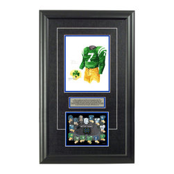 "Heritage Sports Art - Original art of the NCAA 1962 Notre Dame Fighting Irish uniform - This beautifully framed NCAA football piece features an original piece of watercolor artwork glass-framed in an attractive two inch wide black resin frame with a double mat. The outer dimensions of the framed piece are approximately 17"" wide x 28"" high, although the exact size will vary according to the size of the original piece of art. At the core of the framed piece is the actual piece of original artwork as painted by the artist on textured 100% rag, water-marked watercolor paper. In many cases the original artwork has handwritten notes in pencil from the artist. Simply put, this is beautiful, one-of-a-kind artwork. The outer mat is a rich textured black acid-free mat with a decorative inset white v-groove, while the inner mat is a complimentary colored acid-free mat reflecting one of the team's primary colors. The image of this framed piece shows the mat color that we use (Medium Blue). Beneath the artwork is a silver plate with black text describing the original artwork. The text for this piece will read: This is an original, one-of-a-kind watercolor painting of the 1962 Notre Dame Fighting Irish uniform worn by 1964 Heisman Trophy winner #7 John Huarte and is to be used in the creation of products like this Notre Dame Fighting Irish uniform evolution print and thousands of Notre Dame products to be sold across North America. This original piece of art was painted by artist Nola McConnan for Maple Leaf Productions Ltd. Beneath the silver plate is a 6.5"" x 7"" reproduction of a uniform evolution print that celebrates the history of the team. The print beautifully illustrates the chronological evolution of the team's uniform and shows you how the original art was used in the creation of this print. If you look closely, you will see that the print features the actual artwork being offered for sale. The 6.5"" x 7"" print is shown above. The piece is framed with an extremely high quality framing glass. We have used this glass style for many years with excellent results. We package every piece very carefully in a double layer of bubble wrap and a rigid double-wall cardboard package to avoid breakage at any point during the shipping process, but if damage does occur, we will gladly repair, replace or refund. Please note that all of our products come with a 90 day 100% satisfaction guarantee. Each framed piece also comes with a two page letter signed by Scott Sillcox describing the history behind the art. If there was an extra-special story about your piece of art, that story will be included in the letter. When you receive your framed piece, you should find the letter lightly attached to the front of the framed piece. If you have any questions, at any time, about the actual artwork or about any of the artist's handwritten notes on the artwork, I would love to tell you about them. After placing your order, please click the ""Contact Seller"" button to message me and I will tell you everything I can about your original piece of art. The artists and I spent well over ten years of our lives creating these pieces of original artwork, and in many cases there are stories I can tell you about your actual piece of artwork that might add an extra element of interest in your one-of-a-kind purchase."