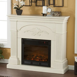 Holly & Martin - Sicilian Harvest Electric Fireplace - Eco-friendly. Ventless. Fluted columns on each side. Decorative scroll. Beautiful media room accent. Remote control requires two AAA batteries. Realistic flickering flame effect. Long life LED lights. 120V-60Hz, 1500W / 5000 BTUs, 12.5 Amp. Easy to use adjustable thermostat. Safety thermal overload protector. Adjustable flame brightness control. Plugs into standard wall outlet with 6 ft. cord. Tested to heat 1500 cubic feet in only 24 minutes. Uses about the same energy as a coffee maker. 100% energy efficient with low operating costs. Produces zero emissions and pollutants. No combustion, glass remains cool to the touch. Mantel supports upto 85 lbs.. Accommodates upto 42 in. flat screen TV. Made from poplar wood and MDF with veneer, metal, resin and glass. Assembly required. Firebox front: 23 in. W x 20 in. H. Overall: 44.75 in. W x 14 in. D x 40.25 in. H (99 lbs.)The elegance of this fireplace is ideal for enhancing your home's cozy appeal. All of your guests are sure to marvel at such a wonderful centerpiece. Portability and ease of assembly are just two of the reasons why our fireplace mantels are perfect for your home. Requiring no electrician or contractor for installation allows instant remodeling without the usual mess or expense. In addition to your living room or bedroom, try moving this fireplace to your dining room for romantic dinners or complement your media room with a ventless fireplace below your flat screen television. Use this great functional fireplace to make your home a more welcoming environment.