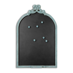 Uttermost - Junia Aged Blue Chalkboard - This ornate chalkboard features a frame finished in distressed aged blue with black undertones and a light gray glaze. Chalk holder is attached.