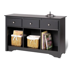 Prepac - 48 in. Living Room Console - Three drawers. Underneath compartments are perfect for books, baskets and other everyday essentials. 16 in. deep consoles top has plenty of space. Brushed nickel knobs. Drawers run smoothly on metal glides with built-in safety stops. Sturdy MDF backer. Warranty: Five years. Made from CARB-compliant, laminated composite woods. Black finish. Made in North America. Cubbie: 14.25 in. W x 14 in. D x 16 in. H. Overall: 48 in. W x 16 in. D x 30.25 in. HComplete your living space with the Living Room Console. Top to display decorative elements like picture frames, candles and flowers. Designed to suit any decor, its the piece your living rooms been waiting for.