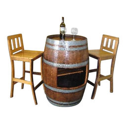 Master Garden Products - Oak wood Wine Barrel Bar table base with shelf opening to use with SHT-48 - Our oak wood wine barrel pedestal tables are made from genuinely recycled wine barrels from California. A larger table top can be added onto the barrel to turn it into a one of a kind pedestal bar table with a center island that can be used as a mini bar, or as a center piece for candles, flowers, etc.  Each individual item's appearance and color tone may vary due to the reclaimed barrel material used in the product.  Stools sold separately.  Made of reclaimed oak staves from reclaimed wine barrels; color tone may vary from one product to another