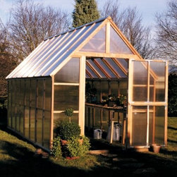 Sunshine Mt. Rainier 8 x 16 Foot Greenhouse Kit - Additional FeaturesDoor measures 28W x 78H inchesPeak height measures 10-feetComes with 16-feet of wood stagingStaging runs the length of the greenhouseStaging gives you versatility and more planting spaceIncludes a 16L x 12H foot shade coverCools your greenhouse up to 15 degreesReduces the amount of sunlight, aiding in plant growthCan double as a windscreen in the colder monthsDoes not take long to assembleIncludes printed instructions and an assembly videoComes with a 5-year warrantyWith everything you need to start a successful greenhouse, the Sunshine Mt. Rainier 8 x 16 Foot Greenhouse Kit includes 16-feet of wood staging that runs the entire length of the greenhouse, as well as a shade cover which gives you greater control over the climate of your greenhouse. With a beautiful clear, natural, and sturdy redwood frame and twin polycarbonate panels designed to protect your plants, this greenhouse looks fabulous as well. The large Dutch doors allows you to keep the door open without worrying about little critters getting in, and the doors and base are both made with recycled plastic. The four vents with automatic openers allows for plenty of air ventilation, helping to keep your plants healthy. The 16-foot staging area doubles as a work station and gives you more room for growing plants, while the shade cover can double as a wind screen in the colder months. Measuring 16L x 8W x 10H feet, this greenhouse is large enough for all your growing needs. With preassembled panels, this greenhouse does not take long to assemble. Printed instructions as well as an assembly video are included.