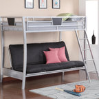 Coaster - Twin/Futon Bunk Bed, Silver - Multi-functional, sleek and cool this futon bunk bed is a smart addition to any youth bedroom. Save space with a lofted twin bunk bed, and a lower futon frame, outfitted in sleek metal and crisp lines.