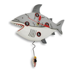 Allen Designs - Allen Designs `Surf at Risk` Shark Wall Clock with Surfer Pendulum - This shark wall clock adds a fun accent to beach themed decor, and it makes a great gift for your favorite surfer. It features a great white shark, cruising by, with a tiny surfer taking a risk to ride the waves. Designed by Michelle Allen, little surfboards act as clock hands and a whimsical quality makes this big shark not so scary. It measures 12 1/2 inches wide, 13 1/2 inches long, and 2 1/2 inches deep. The clock contains a quartz movement and runs on 1 AA battery (not included).