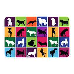 Frontgate - Dog Silhouettes Comfort Mat - Machine washable. Great for food prep areas, laundry rooms, workshops, bathrooms and garages. Colors will not fade from sun or other elements. Be both practical and stylish with the Dog Silhouettes Comfort Mat, a place to hold food bowls in place while protecting floors from messy dogs and their spills. Attractive design showcases multiple dog silhouettes in vibrant colors. The slip-resistant backing prevents movement on hard surfaces and provides a welcome cushion for little feet.  . .  . Made in the USA.