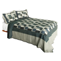 Blancho Bedding - Winter Light 3PC Vermicelli-Quilted Polka Dot Patchwork Quilt Set  Full/Queen - Set includes a quilt and two quilted shams (one in twin set). Shell and fill are 100% cotton. For convenience, all bedding components are machine washable on cold in the gentle cycle and can be dried on low heat and will last you years. Intricate vermicelli quilting provides a rich surface texture. This vermicelli-quilted quilt set will refresh your bedroom decor instantly, create a cozy and inviting atmosphere and is sure to transform the look of your bedroom or guest room. Dimensions: Full/Queen quilt: 90 inches x 98 inches  Standard sham: 20 inches x 26 inches.