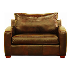 Savvy - Boulder Leather Chair Sleeper Sofa in Chesterfield Whiskey - Boulder Leather Chair Sleeper Sofa in Chesterfield Whiskey