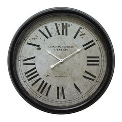 YOSEMITE HOME DECOR - 25 in. Circular Iron Wall Clock black distressed iron frame - This vintage beauty is sure to add a European flare to your home or office. The wall clock features a black iron frame with a distressed white dial and roman numerals. The hands are a bright white giving it a great contrast against the distressed finish of the dial.