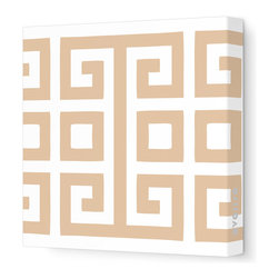 "Avalisa - Pattern - Big Square Stretched Wall Art, 28"" x 28"", Light Brown - Bold color against white and a great big graphic — so simple, yet so powerful. You'll make a style statement wherever you hang this piece."