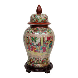 """Oriental Furniture - 18"""" Rose Medallion Porcelain Temple Jar - Large porcelain temple jar with removable lid and high shouldered design. Features an elaborate appliqued oriental object motif pattern surrounding a colorful Asian courtyard scene, fired onto the porcelain in a kiln. Accentuates traditional Rose Medallion panel-style lotus and bird art around top and bottom rim. Lid, neck, and finial painted a traditional warm red. Porcelain is finished in a medium gloss crackle glaze. Display on a console, end table, or bookshelf, alone or in pairs, as a bright, authentic oriental accent."""