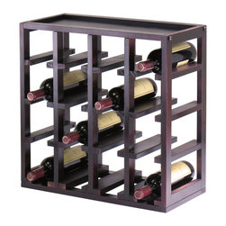 Winsome - Kingston Stackable Slot Cube - Storage is designed to stand alone or as a modular piece that is also stackable. This slot design holds 16 bottles is made of sturdy wood with espresso finish