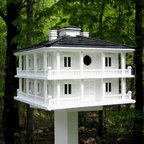 Home Bazaar, Inc. - Clubhouse Birdhouse - Re-creation of one of the most famous sites in golf. This Southern Plantation design has balconies all around the four sides and 2 separate nest boxes. Entrance hold measures 1 1/4 inch to accommodate common cavity dwellers such as Wrens, Finches, Chickad