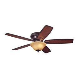 Westinghouse - Indoor Ceiling Fans: Westinghouse Sumter 52 in. Classic Bronze Ceiling Fan 72470 - Shop for Lighting & Fans at The Home Depot. With its classic bronze finish, 5 reversible blades, and amber alabaster glass light fixture, this Westinghouse Sumter 52 in. Classic Bronze Ceiling Fan will add traditional style and comfort to any room. Ideal for rooms over 400 sq. ft. (20 ft. x 20 ft.) with standard 8 ft. ceilings or lower, this hugger-mount fan features a 153 mm x 15 mm cold-rolled steel motor with triple capacitor for powerful, quiet air circulation and a reversible switch. Run the fan counterclockwise in the summer to keep your space cooler and clockwise in the winter to recirculation warm air from the ceiling. The ceiling fan provides airflow of up to 4,410 CFM. It is rated to operate at 60 watts at high speed (without lights), which gives it an airflow efficiency rating of 74 CFM/watt. (As a comparison, 49 in. to 60 in. ceiling fans have airflow efficiencies ranging from approximately 51 to 176 CFM/watt at high speed.) The Sumter comes with a 12 in. lead wire for installation. It is backed by a lifetime motor warranty and a 2-year warranty on all other parts.