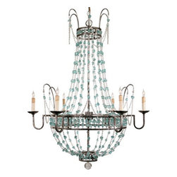 Arteriors Home - Arteriors Home Versailles 6L Aqua Glass Chandelier, Small - Arteriors Home 89252 - Arteriors Home 89252 - Bring the opulence of France to your space with the Versailles Chandelier from Arteriors. It features exquisite glass bead-work in clear and aqua hues, which compliment the iron frame's pewter leaf finish. Candle drip sleeves are the perfect touch to this innovated chandelier.
