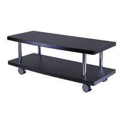 Winsome Wood - Evans TV Stand Curved Shelf - Our Evans TV/Media Stand is enough long to accommodate large screened sets and has a second shelf to hold other media devices. Its additional feature of locking casters allow easy portability. The use of composite wood and metal ensure the sturdiness of this stand.