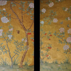 hand painted wallpaper Birds and flower panoramic design -