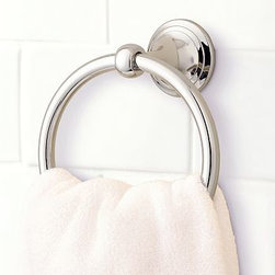 "Mercer Towel Ring, Polished Nickel finish - Part of our most popular bath collection, the Mercer Towel Ring is available in a choice of four beautiful finishes, so you can give the whole bath a coordinated look.6"" wide x 3.5"" deep x 7"" highCrafted of drop-forged brass, then thickly plated for strength.See available finishes below.Sealed with a clear protective lacquer.Mounting hardware included. View our {{link path='pages/popups/fb-bath.html' class='popup' width='480' height='300'}}Furniture Brochure{{/link}}."