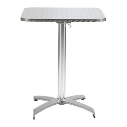 "Eurostyle - Arden 24"" Square Table-Stainless Steel/Aluminum - The perfect landing pad for a tray of cocktails or dinner al fresco, this table is happy indoors or out. Its stainless steel top says modern without screaming posh. And the top tilts to a vertical position for easy storage."