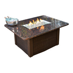 The Outdoor Greatroom - Grandstone Chat Height Gas Fire Pit Table With Brown Wicker Side Panels - Simply durable and beautiful, the Grandstone fire pit table features a classic design and is easily customizable. Choose from a brown metal base with either brown metal side panels or brown wicker side panels, and a gorgeous solid British Copper granite top; Or from a black metal base with either black metal side panels or black wicker side panels, and an elegant absolute black granite top. Really enhance your backyard with this beautiful fire pit table. This fire pit table comes with a rectangular 24x12 inch stainless steel Crystal Fire Burner that will truly light up the night and add warmth to your outdoor space. These burners are made from high quality stainless steel and include tempered, tumbled glass, an LP hose and regulator, a metal flex hose, a gas valve, and a push button sparker. With just a push of a button, a beautiful clean-burning fire appears atop a bed of highly reflective Diamond glass fire gems. All burners are shipped with orifices for LP or NG fuels and are UL approved for safety and quality. Adjust the flame height to your desired setting and enjoy the magic and ambience of a warm glowing fire.