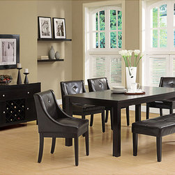 Monarch - Dark Espresso Veneer Top Dining Table with Extension Leaf - This dining table offers rich design and transitional styling that invites a relaxed setting into your home. This clean lined rectangular shaped dining table will create the perfect look for intimate dinners or casual get togethers.