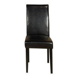 Armen Living - Black Leather Side Chair - Set of 2 - Need an extra dining chair? This rich black leather dining chair stores easily when the guests leave or use them around a dinette or game table. Thick foam padding and California Fire Retardant rated.