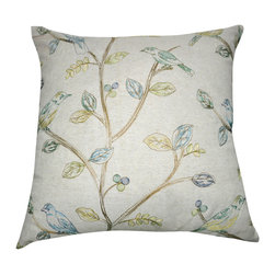 """Loom and Mill - Loom and Mill P0065-2020P 20"""" x 20"""" Linen Bird Decorative Pillow - Adding nature inspired decor to your home brings life and color where needed. This embroidered decorative bird pillow is perfect for your sitting room or as a center piece for your bedding. Spot clean only."""