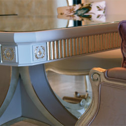 Wappo Hill Estate - Custom Dining Table with white gold accents and a mirror top.