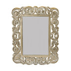 """Everybody's Ayurveda - Washed Beige Rectangular Mirror - Beige Washed Rectangular Mirror. Hand-carved wood. Made in India 14.5"""" Wide x 19"""" Tall. (Hang vertically or horizontally)"""