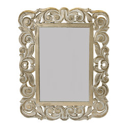"Everybody's Ayurveda - Washed Beige Rectangular Mirror - Beige Washed Rectangular Mirror. Hand-carved wood. Made in India 14.5"" Wide x 19"" Tall. (Hang vertically or horizontally)"