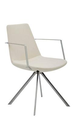 B&T Design - Pera Ellipse Armchair, Gazebo Eco-Leather Ivory - 151 - Pera Ellipse Armchair