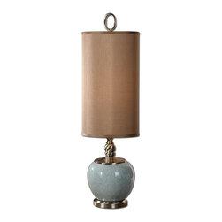 Uttermost - Lilia Decorative Lamps - Crackled light blue ceramic with brushed aluminum details