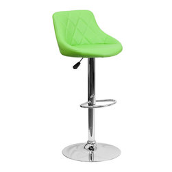 Flash Furniture - Flash Furniture Contemporary Green Vinyl Bucket Seat Adjustable Height Bar Stool - This dual purpose stool easily adjusts from counter to bar height. The bucket seat design will make this a great accent chair around the bar area or kitchen. The easy to clean vinyl upholstery is an added bonus when stool is used regularly. The height adjustable swivel seat adjusts from counter to bar height with the handle located below the seat. The chrome footrest supports your feet while also providing a contemporary chic design. [CH-82028A-GRN-GG]