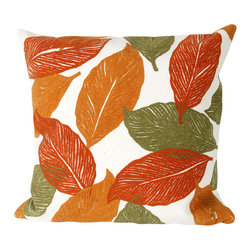 "Trans-Ocean Inc - Mystic Leaf Orange 12"" x 20"" Indoor Outdoor Pillow - The highly detailed painterly effect is achieved by Liora Mannes patented Lamontage process which combines hand crafted art with cutting edge technology. These pillows are made with 100% polyester microfiber for an extra soft hand, and a 100% Polyester Insert. Liora Manne's pillows are suitable for Indoors or Outdoors, are antimicrobial, have a removable cover with a zipper closure for easy-care, and are handwashable.; Material: 100% Polyester; Primary Color: Orange;  Secondary Colors: olive, red, white; Pattern: Mystic Leaf; Dimensions: 20 inches length x 12 inches width; Construction: Hand Made; Care Instructions: Hand wash with mild detergent. Air dry flat. Do not use a hard bristle brush."