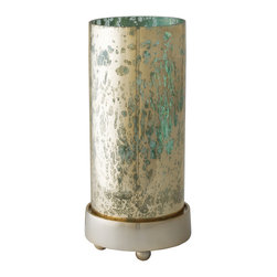 Lazy Susan - Lazy Susan Small Gilded Sea Hurricane - Inspired by a vintage glass technique and the twinkle of sun reflecting off Caribbean seas/ this mercury glass with a gold-finished base is luminous when a pillar candle glows beautifully through the iridescent shine.