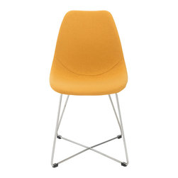 Euro Style - Anahita Side Chair (Set of 4) - Saffron Fabric/Brushed Stainless Steel - Often you will see similar shapes in molded materials that are light and strong.  But Anahita takes this idea to the comfort zone.  In fabric or leatherette over foam, this iconic shape now has an entirely different feel.  Still light and strong, but an undeniably softer, stay-a-while comfort.