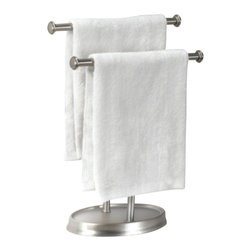 Umbra - Umbra Palm Double Hand Towel Tree, Nickel Plated Finish - Keep hand towels neat and at the ready with the Palm towel tree by Umbra. Constructed of metal with a nickel-plated finish, Palm features two tiered bars that accommodate hand towels or washcloths. Perfect in the guest bathroom or powder room, Palm is also useful in any bathroom where wall-mounted hardware is not feasible or desirable. The nickel finish coordinates with a variety of other bathroom hardware items available from Umbra.